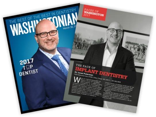 Washingtonian magazine cover and page highlighting Dr. Puterman