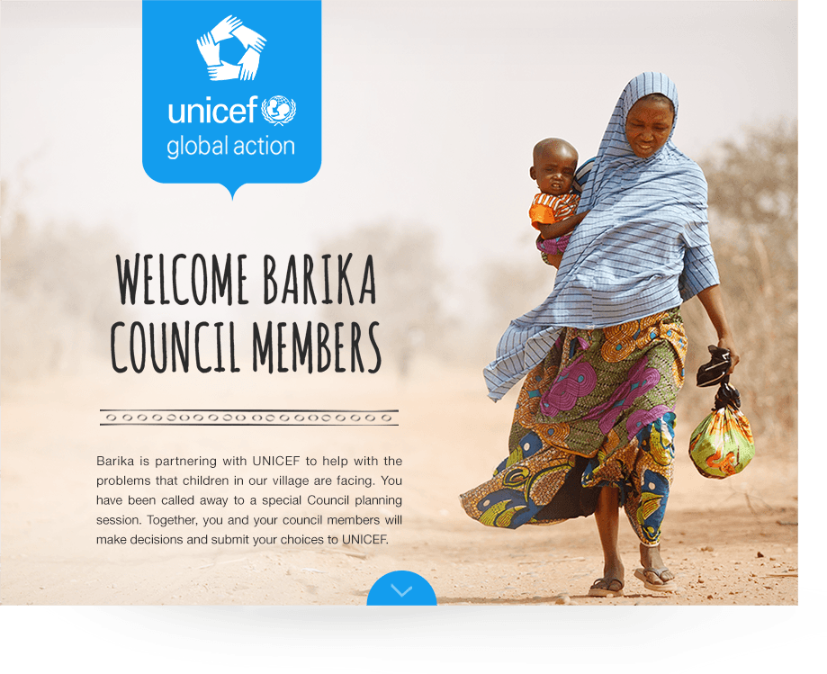 UNICEF global action game home screen