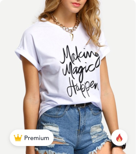 White Letters Print Cuffed T-shirt product
