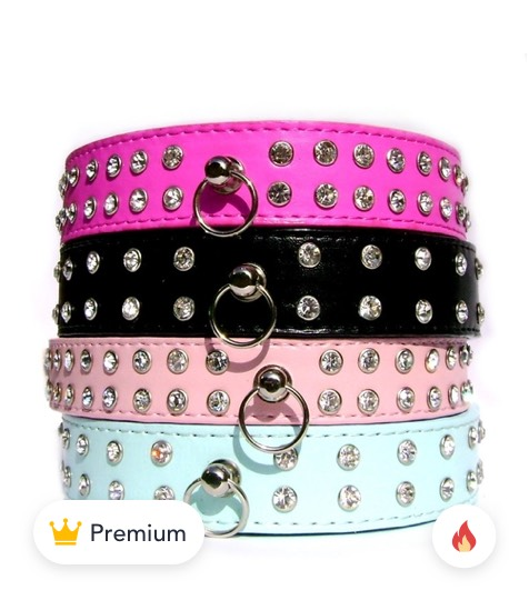 Double Row Crystal Rhinestone Dog Collars product