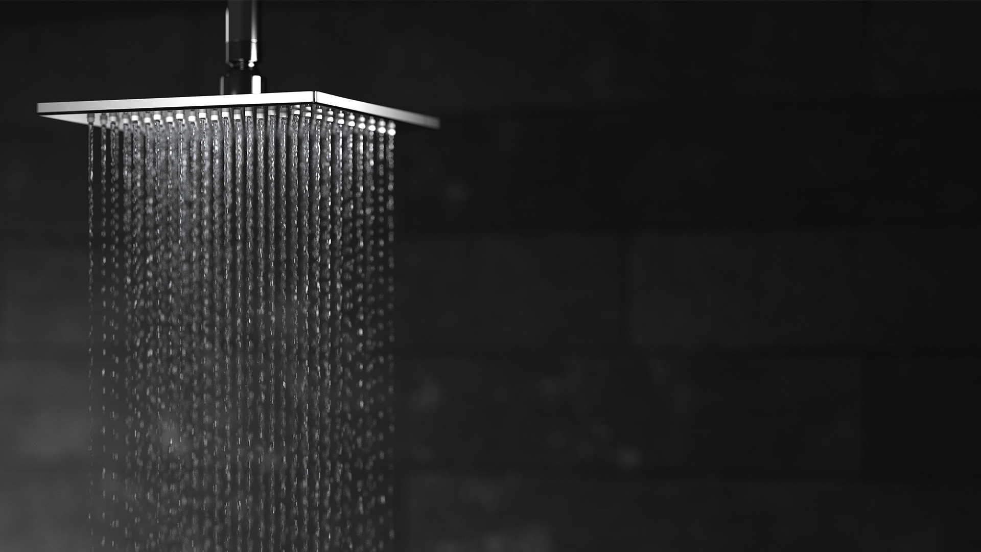 image of NOW ceiling mounted shower head with running water