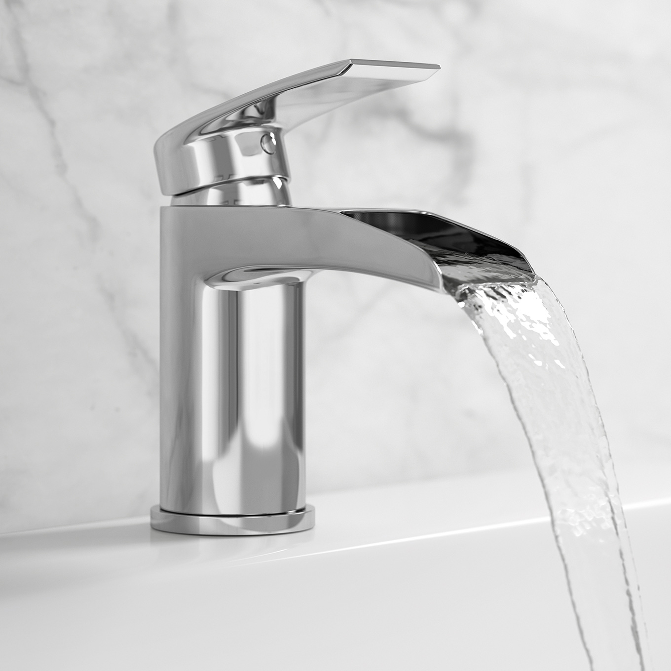 image of NOW Collection mono basin tap with running water