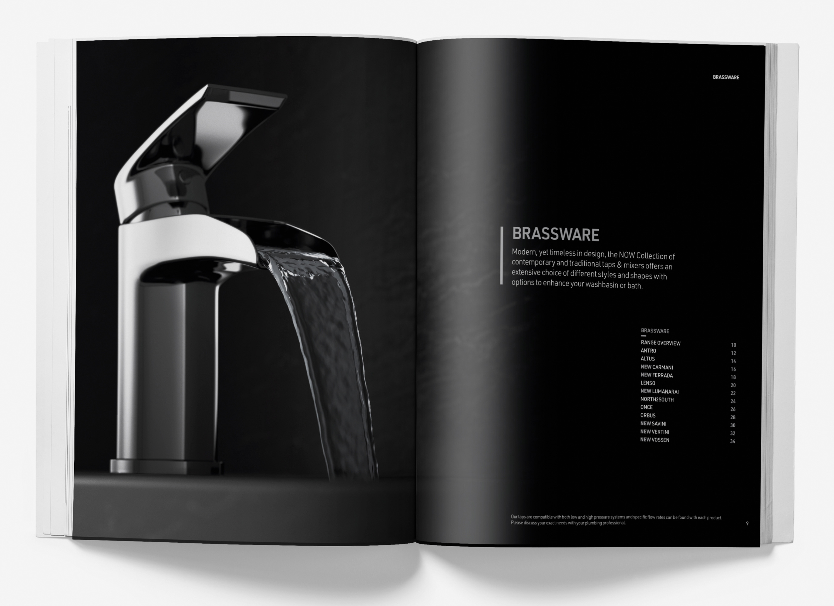 image of open spread of NOW Collection brochure