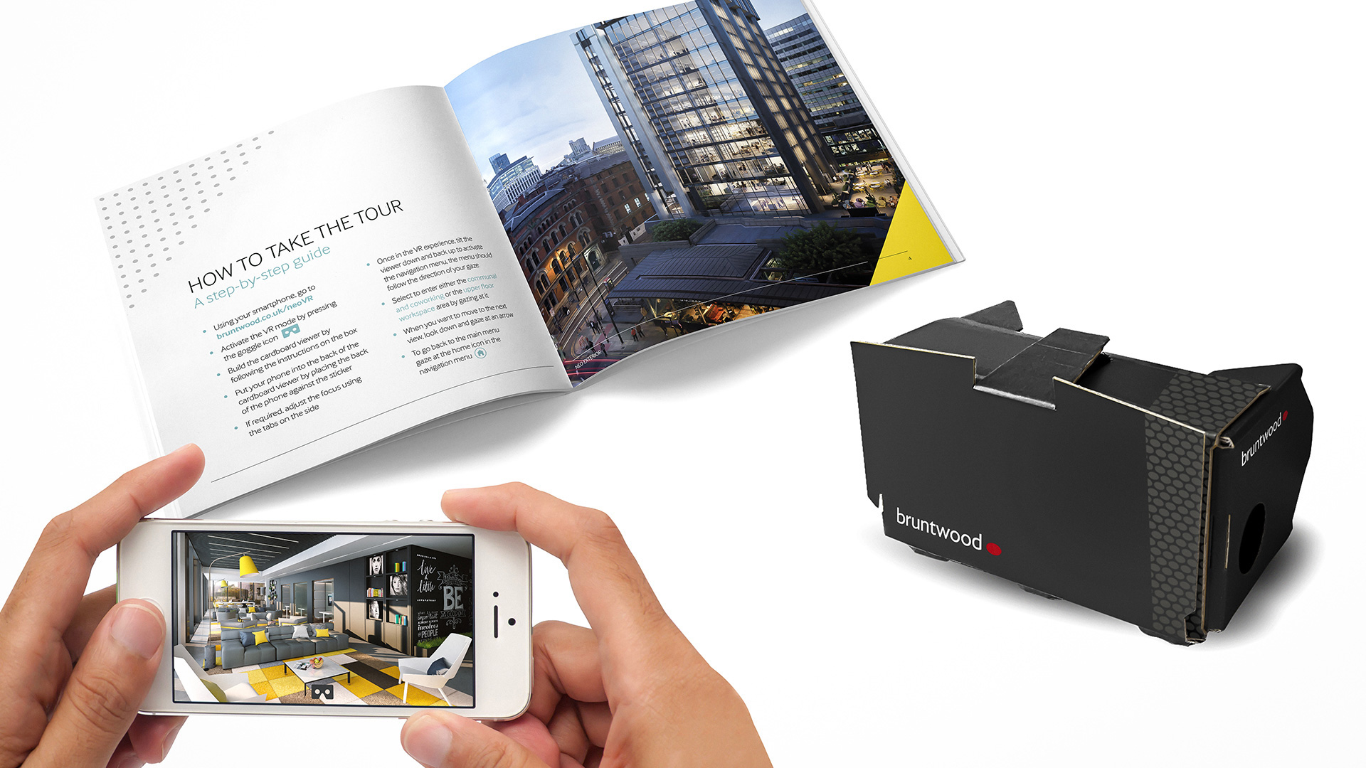 collection of marketing collateral for Bruntwood VR