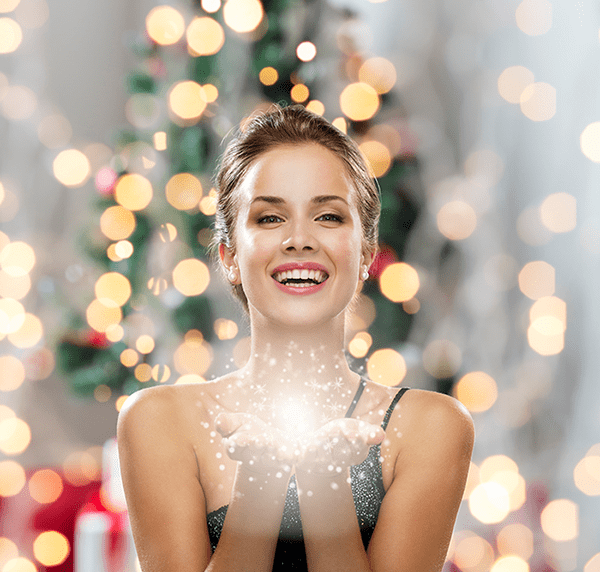 Woman enjoying her holiday season knowing she looks her best