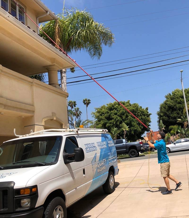 Aquafy window cleaning a home in South Bay