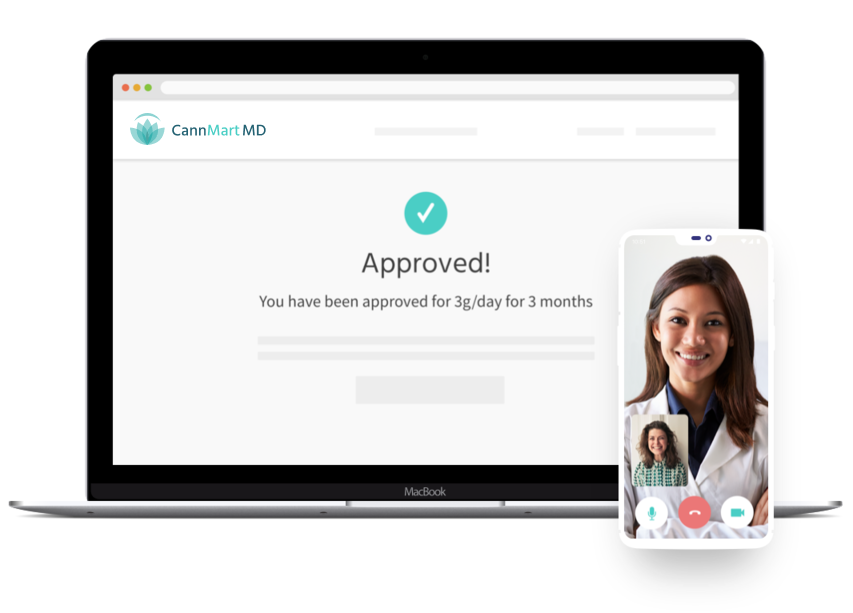 A computer screen showing medical cannabis prescription approved