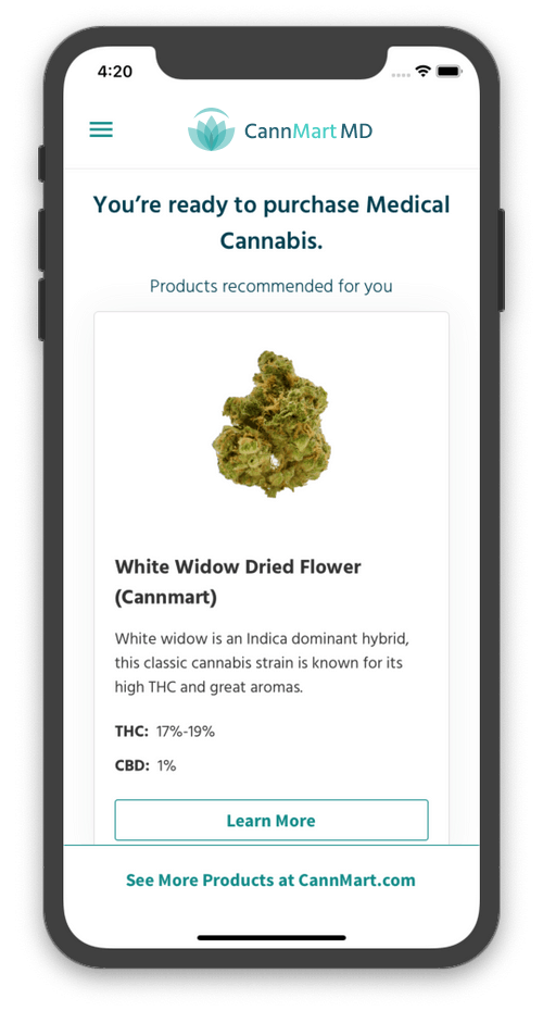 A mobile screen with information on easy steps required to get a medical cannabis prescription through mobile app