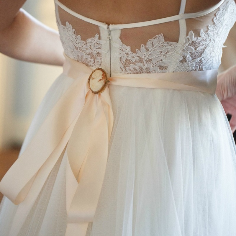 Detail of the brides dress.