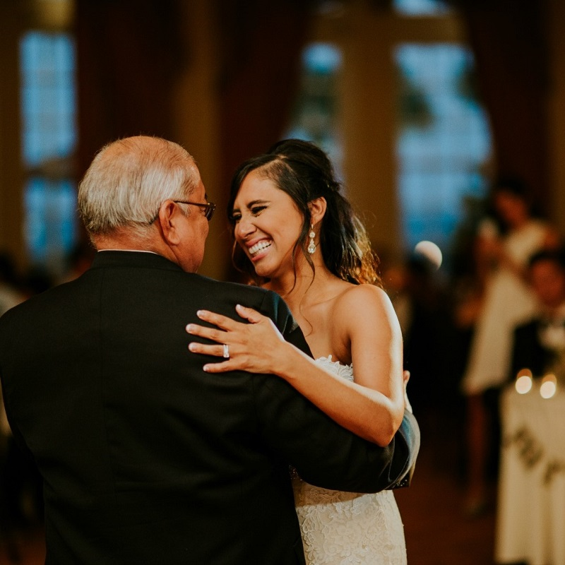 The bride having a moment with her father.