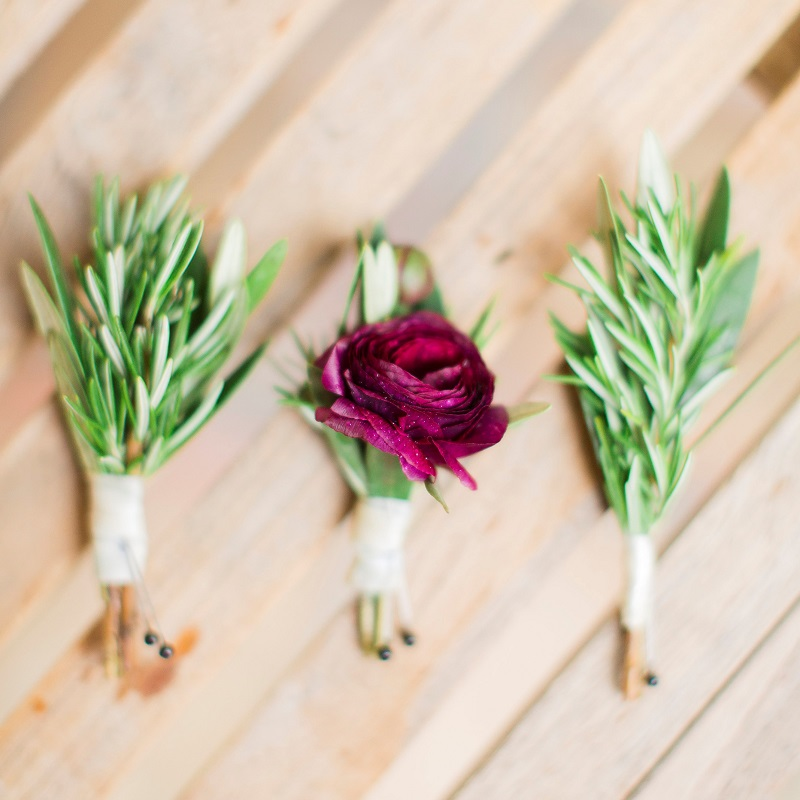 Detail shot of the boutonnieres.