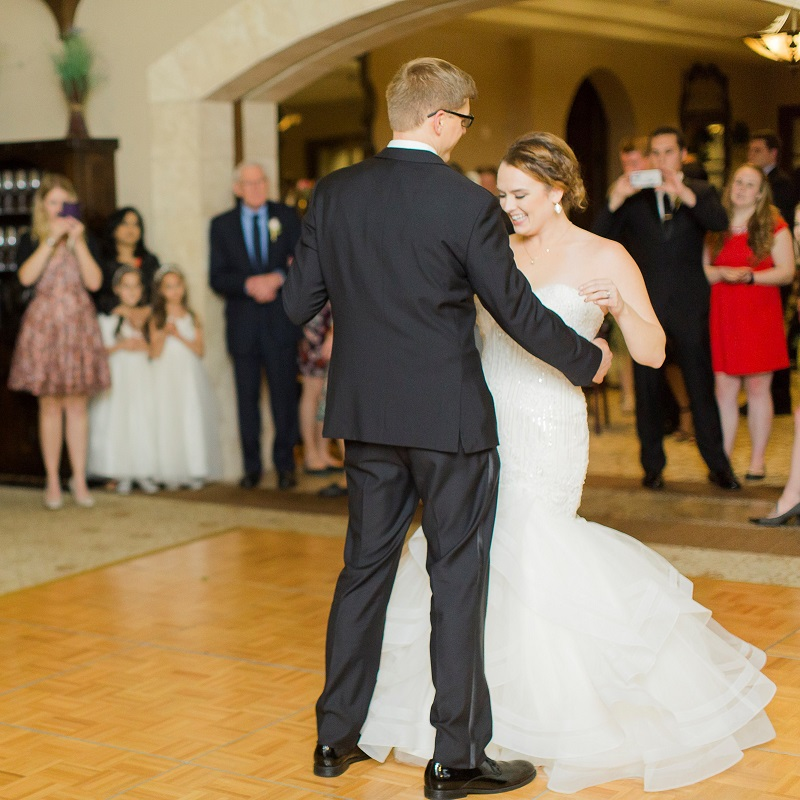 The bride and groom during their first dance.