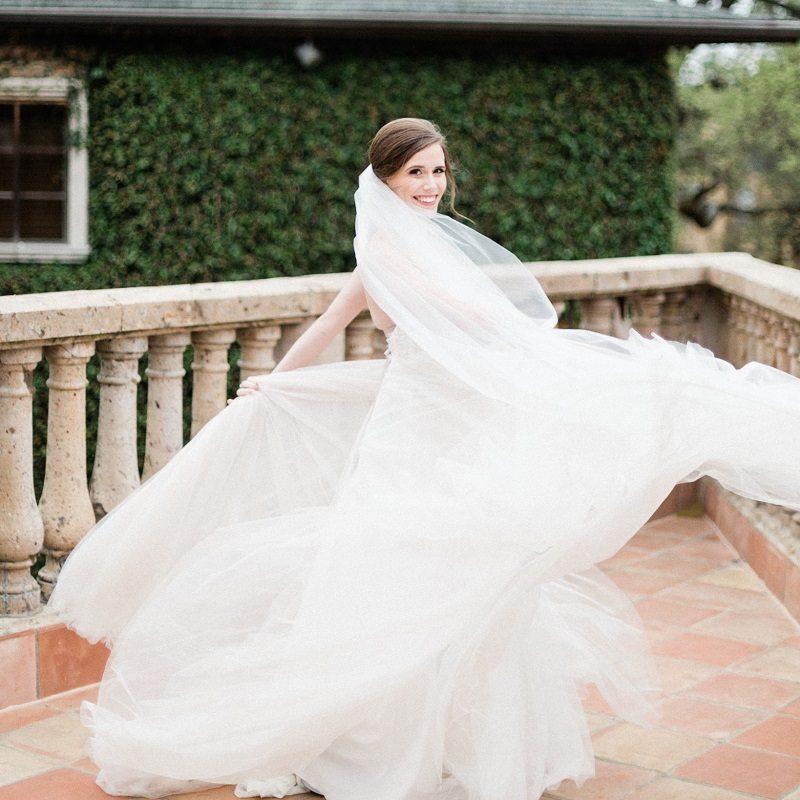 The bride in her wedding dress.