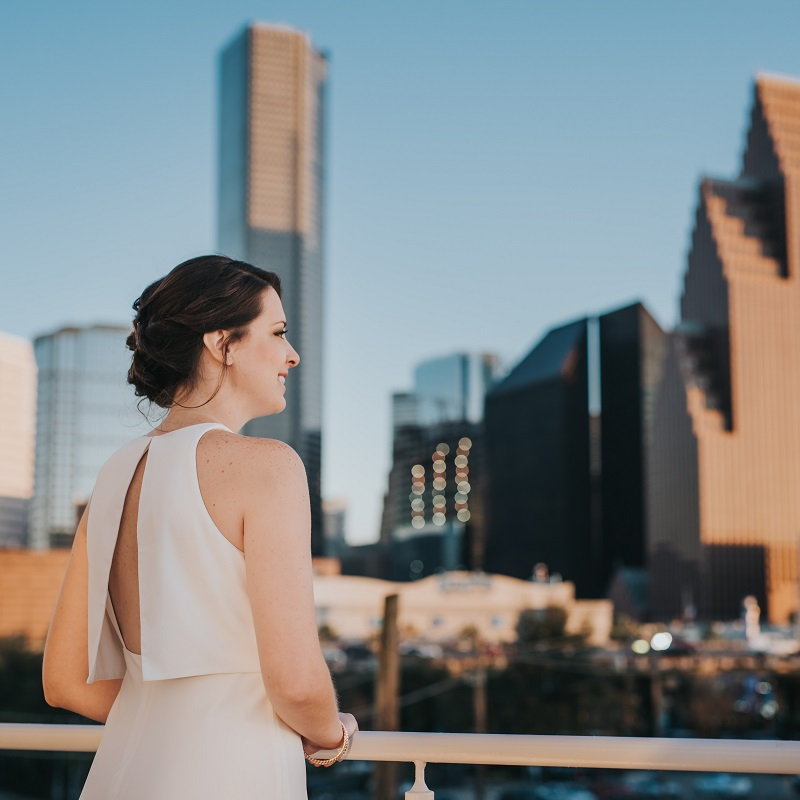 The bride looking at Downtown Houston.