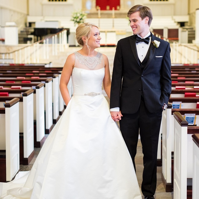 The bride and groom at the church after the ceremony.