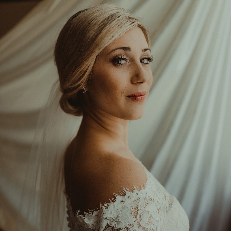 The gorgeous bride prior to her wedding ceremony.