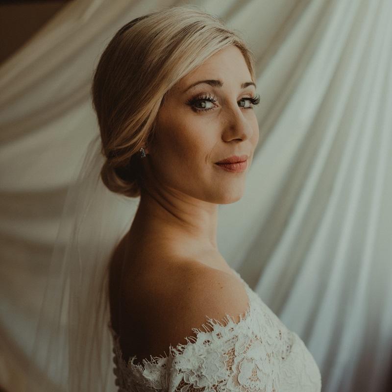 The gorgeous bride prior to her wedding ceremony.