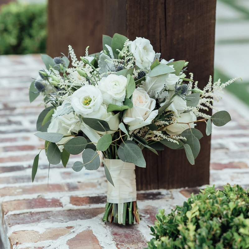 The wedding bouquet.