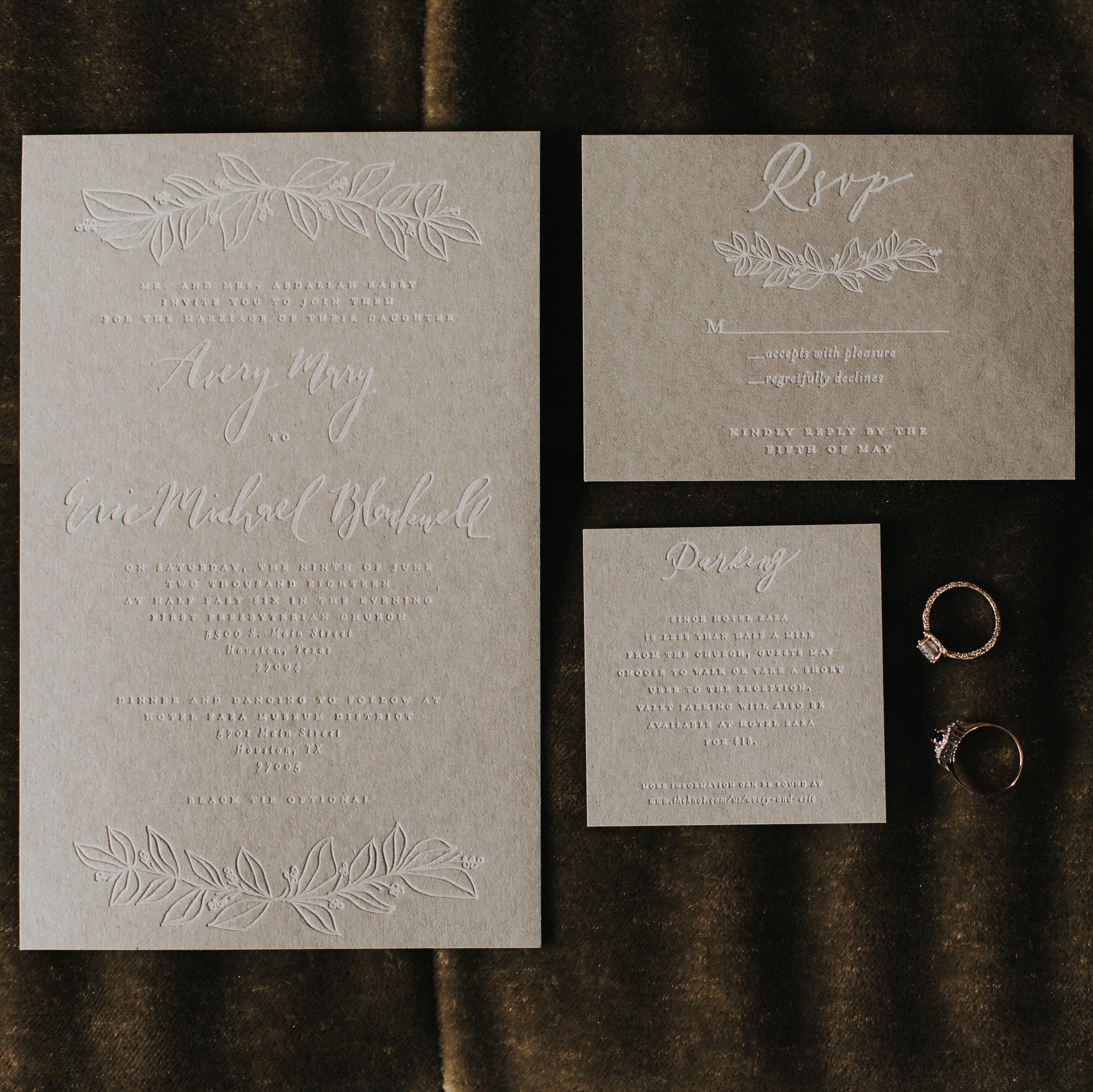 The wedding invitation suite.