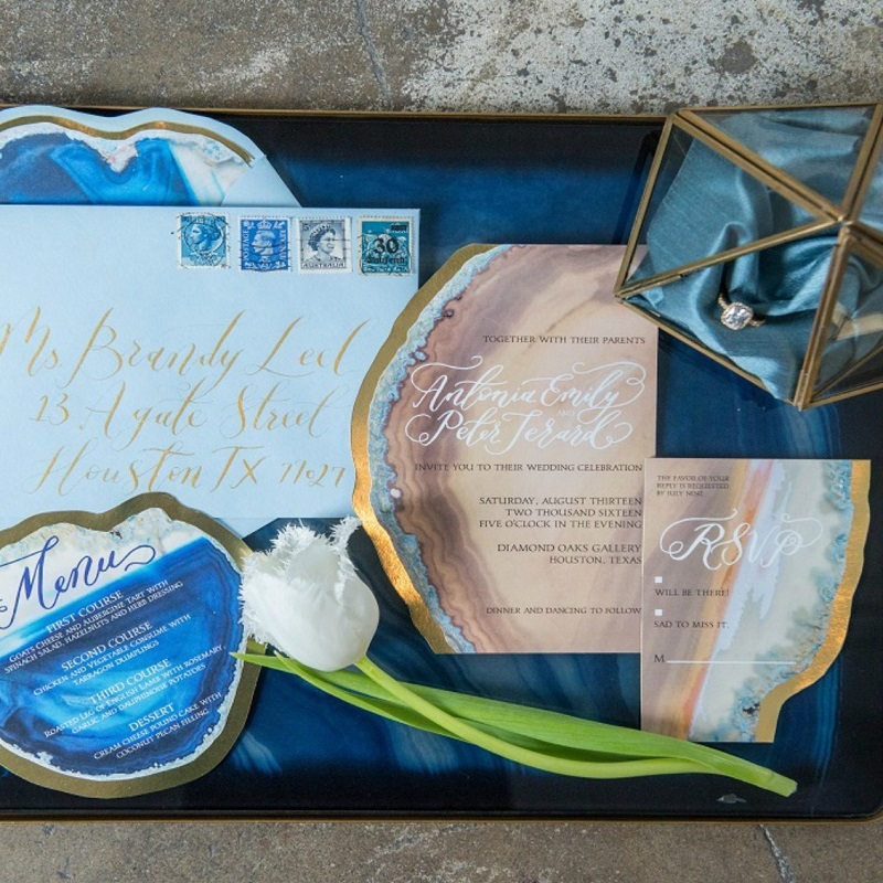 The agate wedding invitation suite.