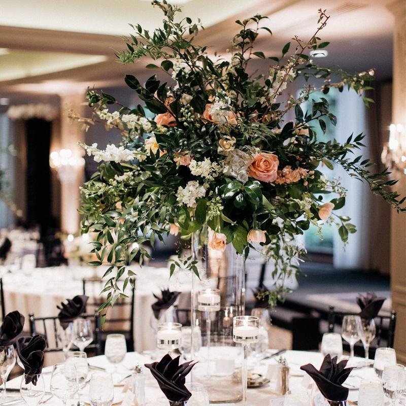 Floral Details and Reception Centerpiece Shot