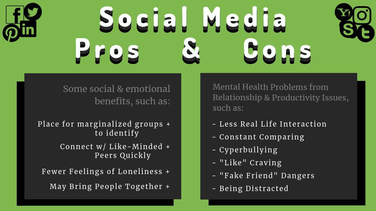 pros & cons of social media chart