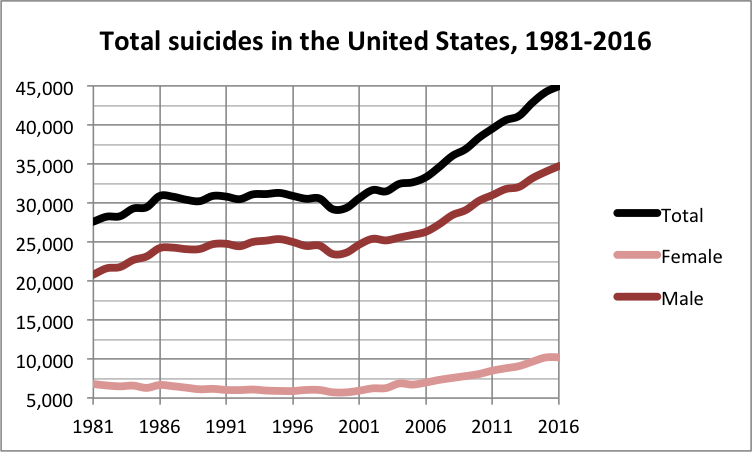 total suicide rate in the United States over the years
