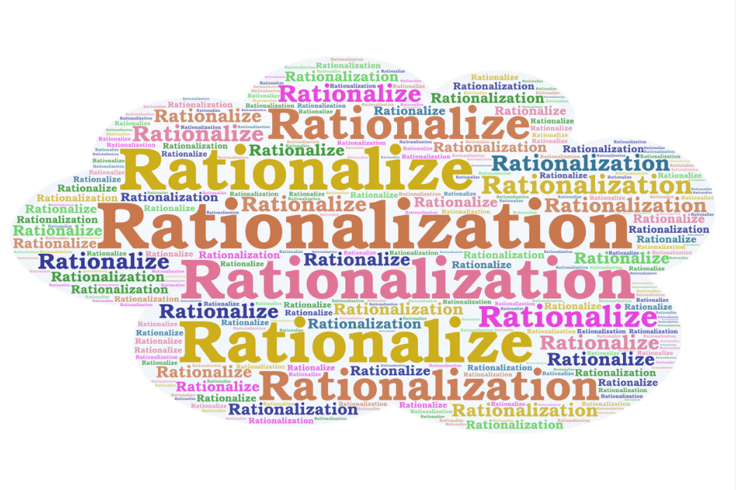 """The word """"rationalize"""" is written in big lettering over and over again"""