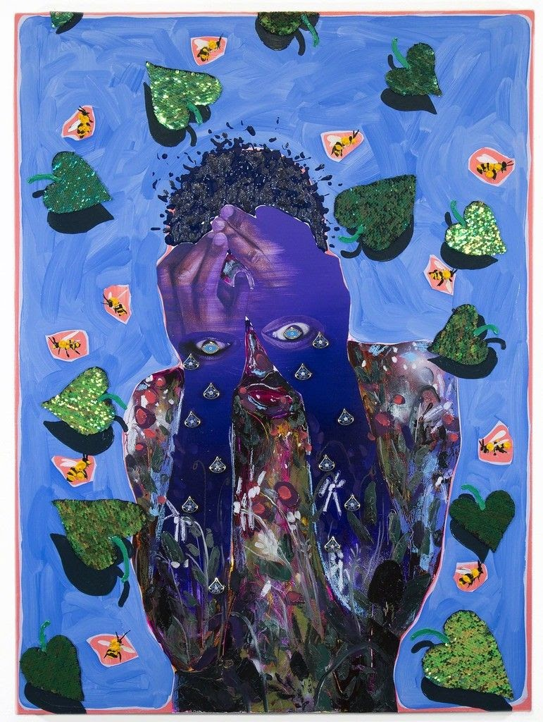 Man with hands over his face and eyes on his hands crying. The background is painted blue with clover leaves and bees.