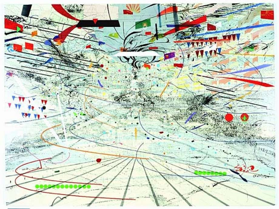 Merutu's work looks like a cyclone of shapes, patterns, and colors. This is similar to what anxiety feels like.