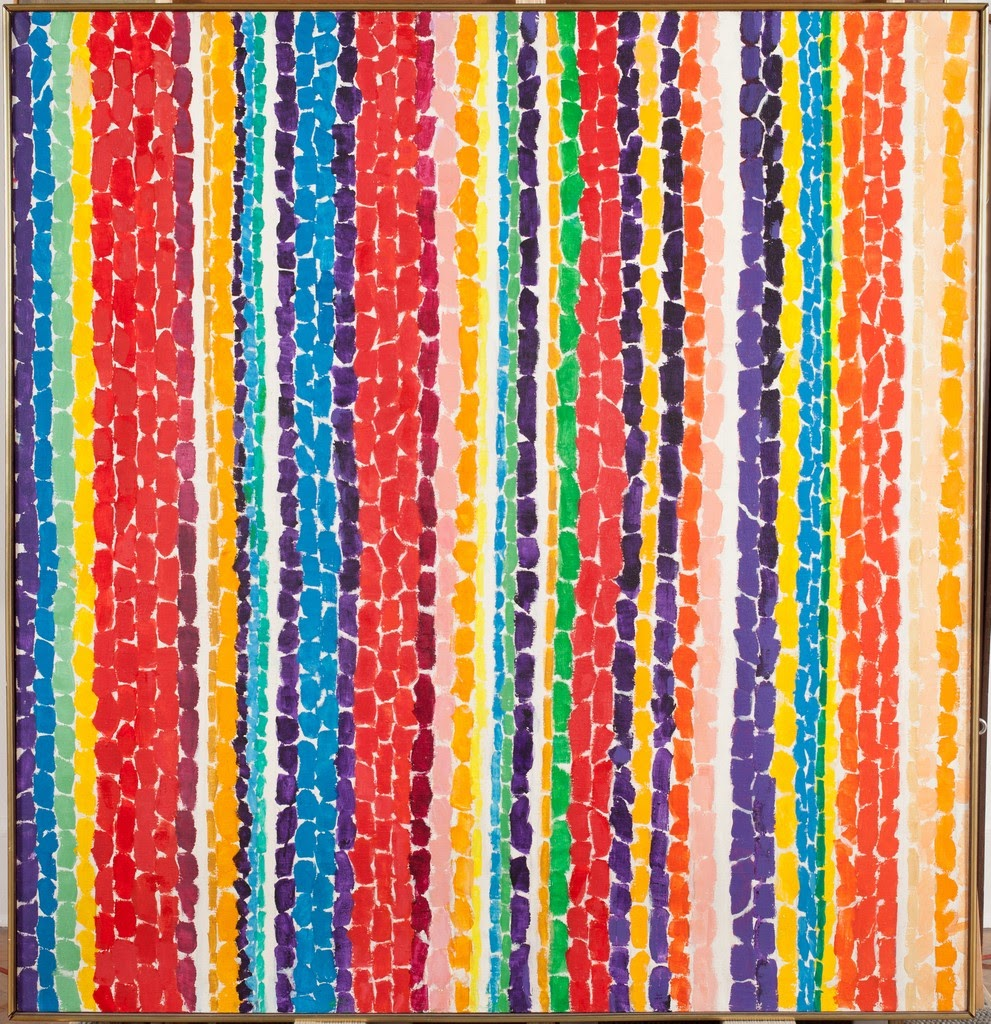 Alma Thomas' work shows a rainbow of vertical strips with a mosaic-like rectangle pattern.