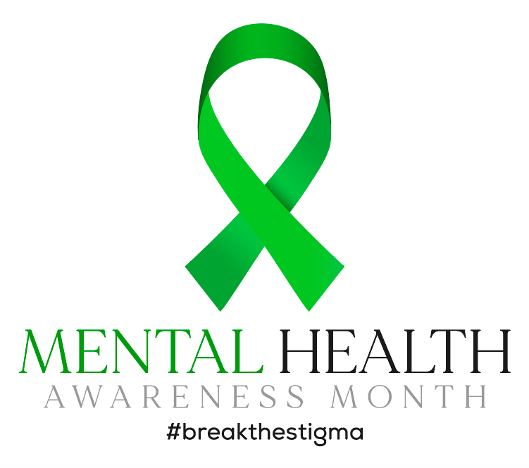 A Green ribbon with #BreakTheStigma on it for Mental Health Awareness Month.