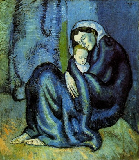 Woman coddling a child. The brushtrokes in a blue green color show Picasso's blue period.