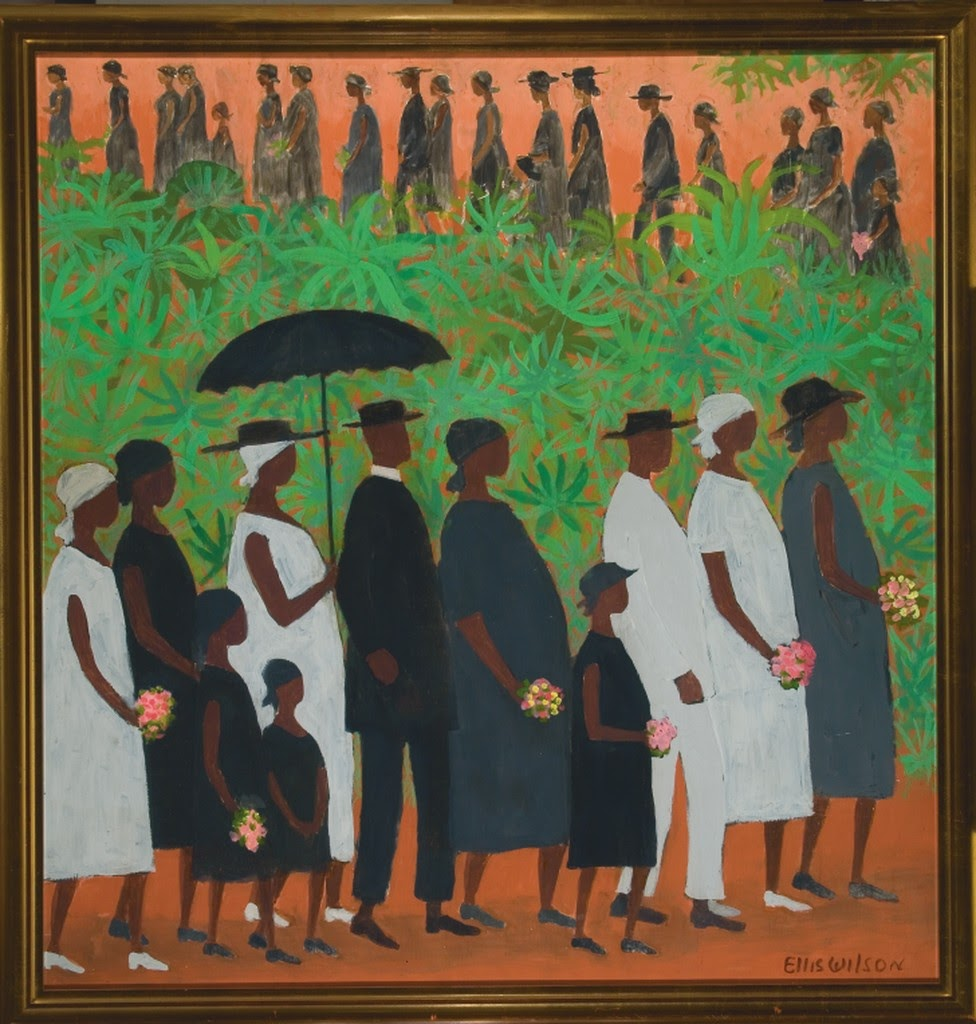 Ellis Wilson's painting that depicts lush greenery as the bisector of two lines of people. The bottom line looks like people dressed in black and white  and the top looks like a funeral procession in black.