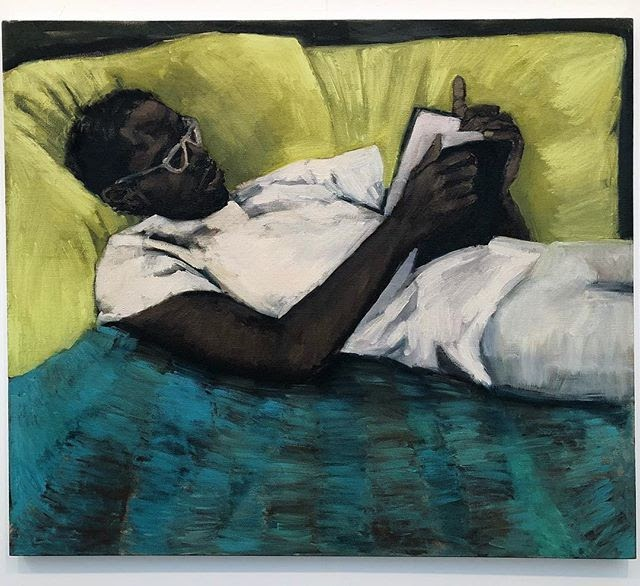 Painted composition of a man reclining and reading a book.
