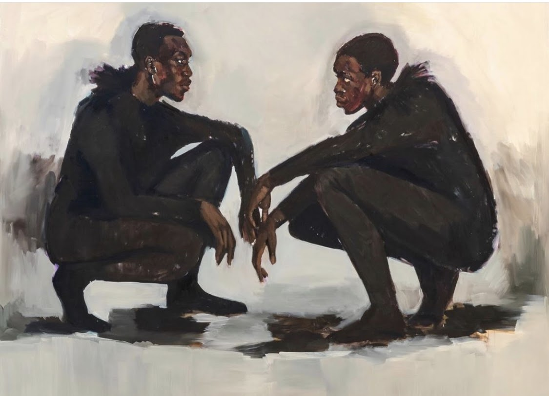 Painting of two people crouched and staring at each other. They look similar yet different.