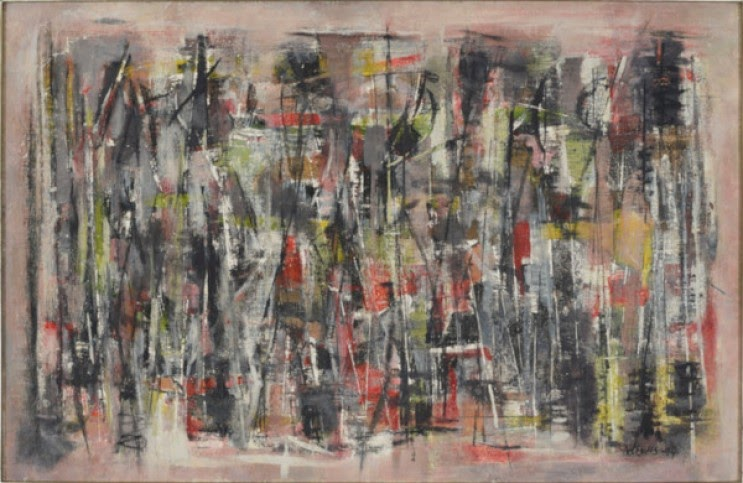 This abstract image of line and white, tan, black, and red color palate evokes the complex feelings within the psyche.