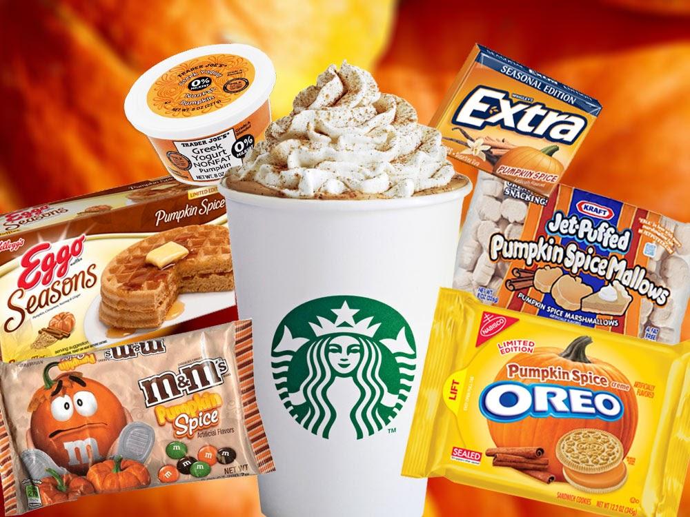 Image detailing how major food name brands capitalize on the pumpkin spice craze.