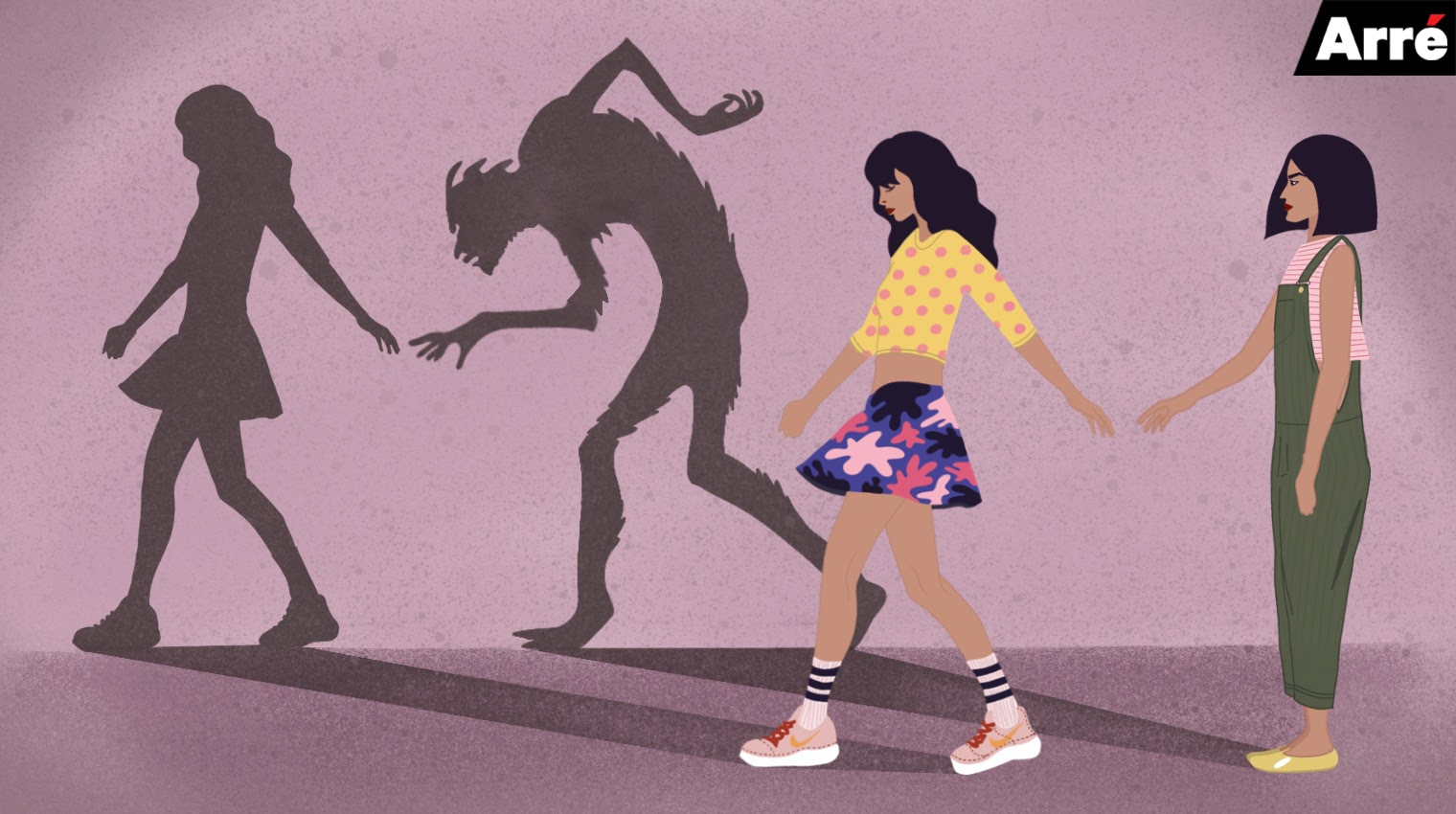 A graphic showing what appears to be two friends walking side by side. Their shadows show that one friend is actually a monster.
