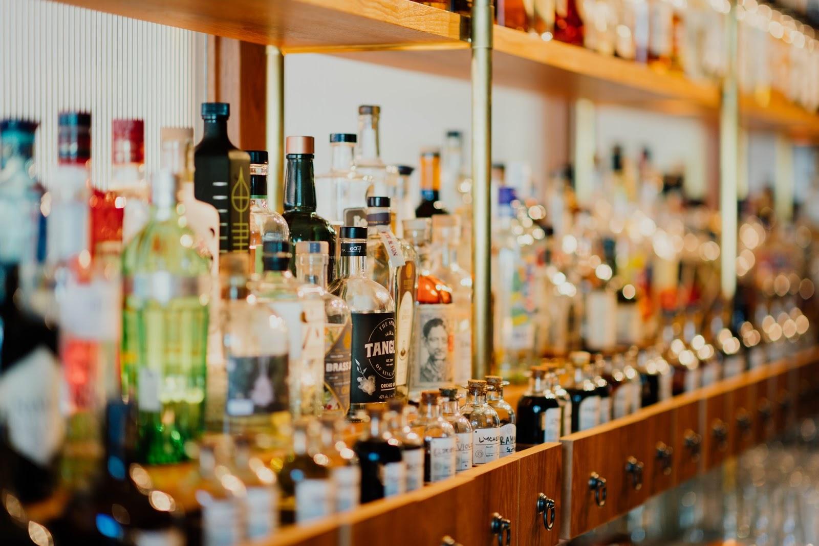 A nice bar lineup representing alcohol.