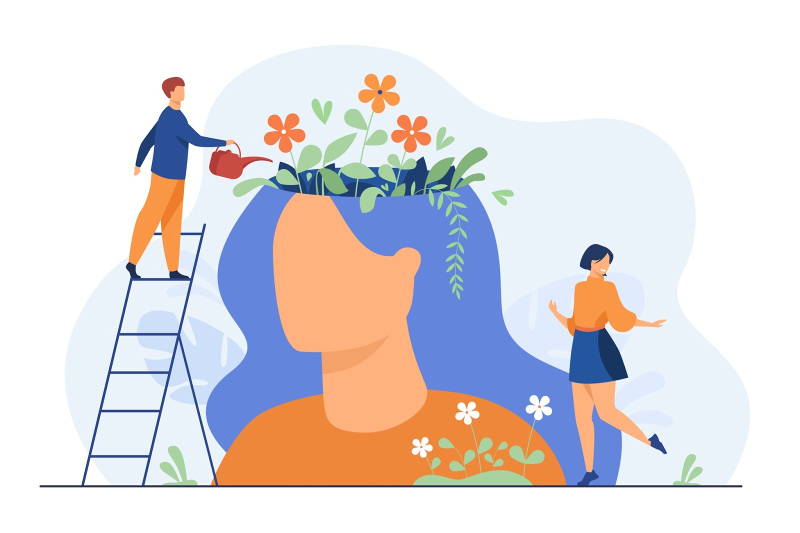 man watering flowers of the mind