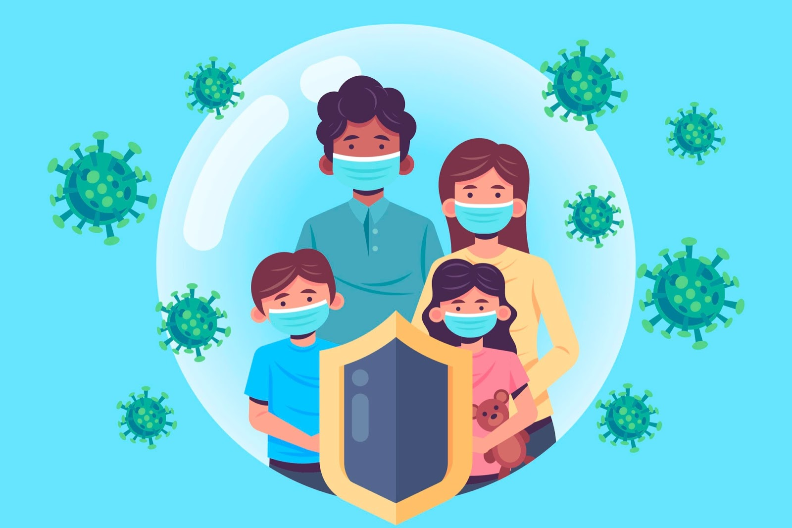 A masked family protected from the virus.
