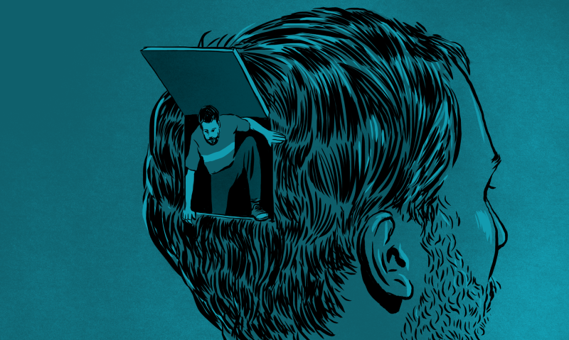 A man leaving his own head to represent escapism.