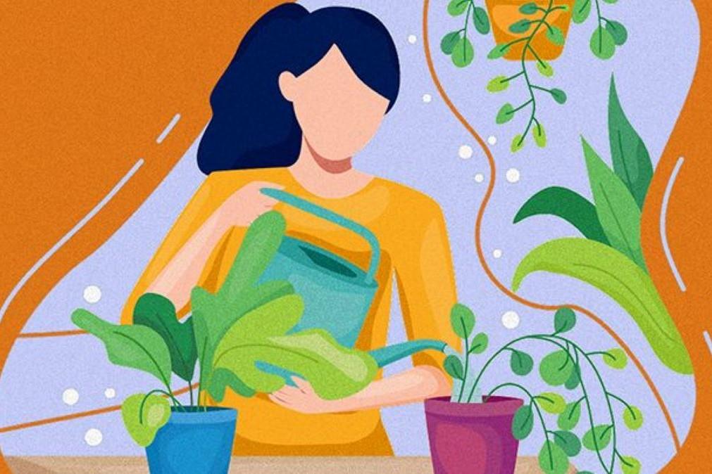 Art of Woman Watering Her Plants
