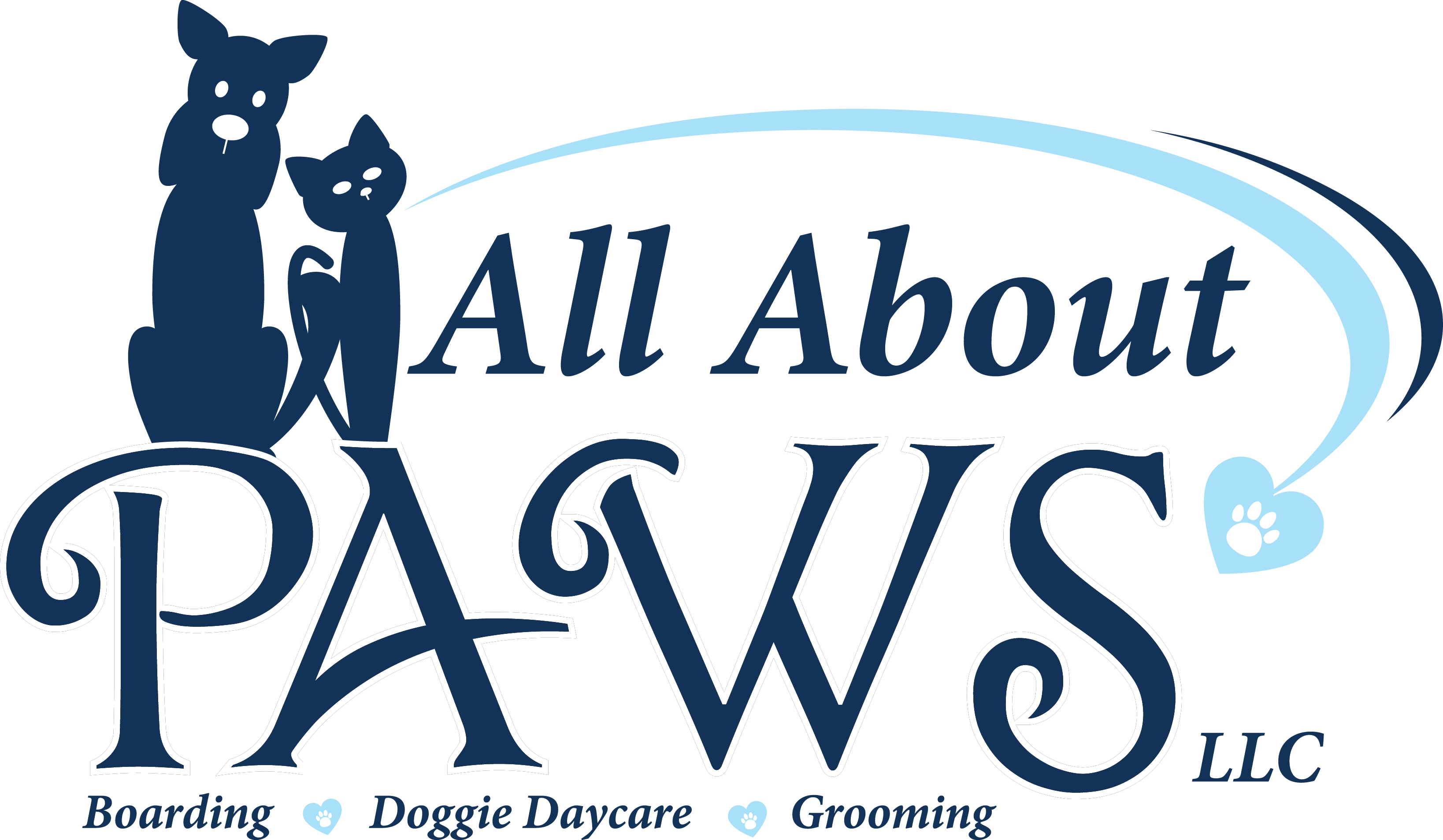 the all about paws logo with two cats in top left all in navy blue