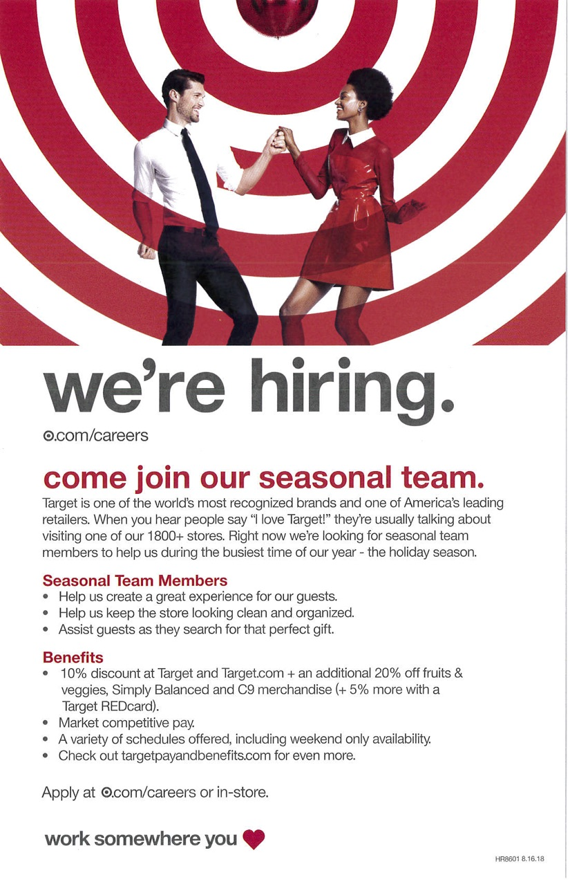 Target hiring information flyer