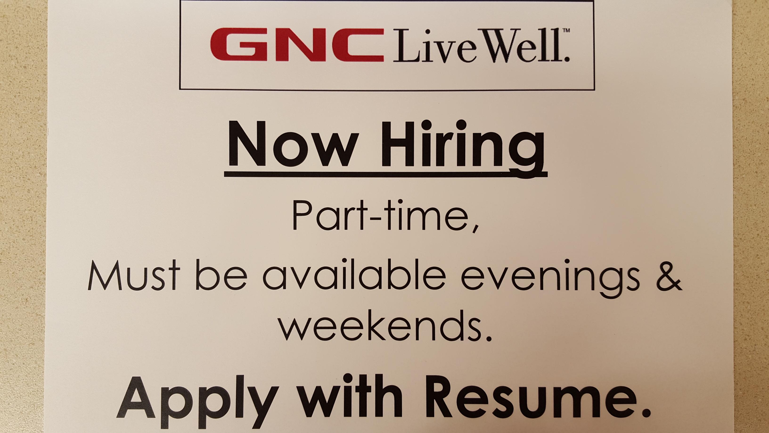 GNC now hiring information flyer