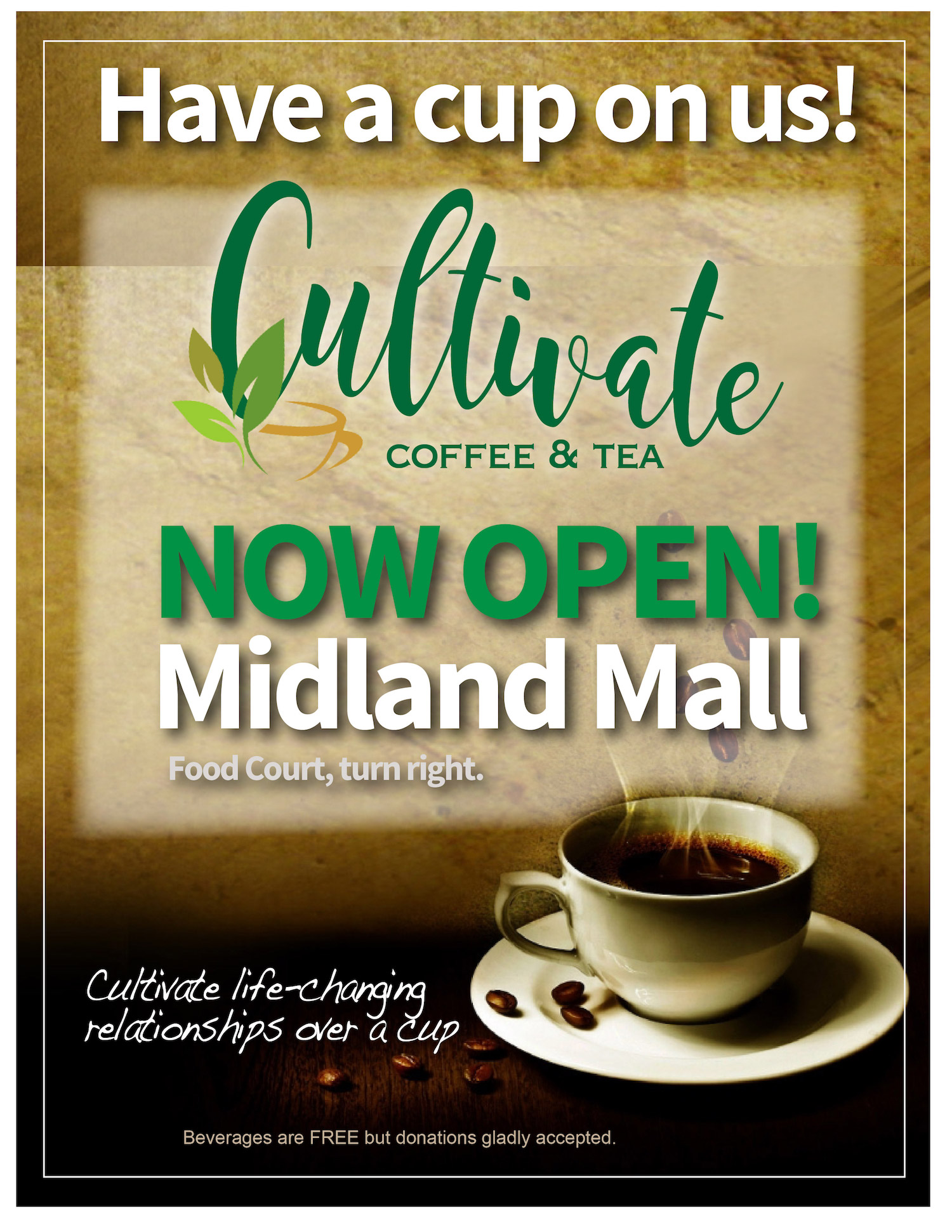 cup of coffee with information about Cultivate Coffee & Tea