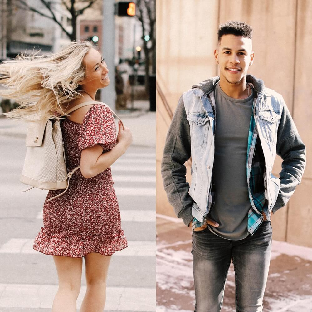 Young woman and man wearing Buckle summer apparel