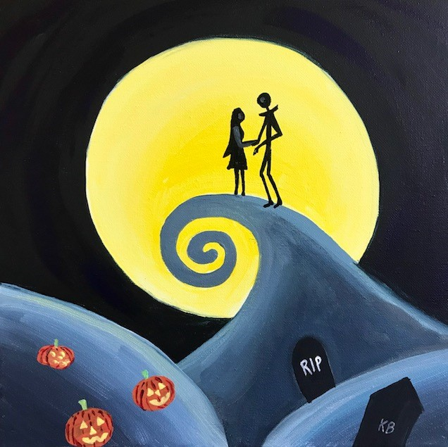 A painting of Jack Skellington and Sally from the Tim Burton film, Nightmare Before Christmas.